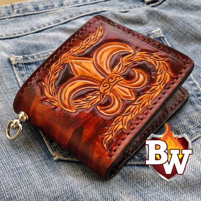 Nathural/Brown Rugged Super Thick Top Grain Saddle Leather 5-inch Biker Wallet | Custom Handmade Men's Leather Wallets at Biker-Wallets.com