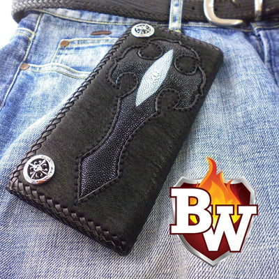 Trifold Black/Black Gothic 8-inch Shark and Leather with Stingray Custom Handmade Men's Biker Wallet | Custom Handmade Men's Leather Wallets at Biker-Wallets.com