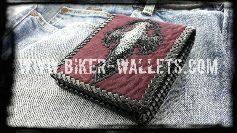 Sacrifice 5 Shark and Stingray Custom Handmade Men's Biker Wallet - Handcrafted Quality Genine Leather Backed by a 5-Year Warranty - Biker-Wallets.com