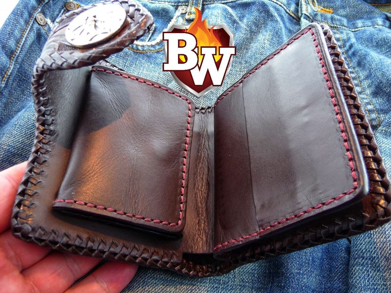 """Saloon"" 5"" Custom Handmade Hand Tooled Leather Men's Biker Wallet"