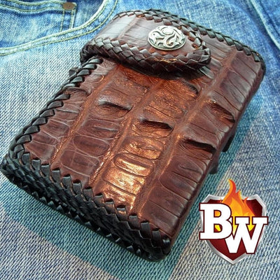 Red Crocodile Secret Agent 5-inch Custom Handmade Trifold Biker Wallet | Custom Handmade Men's Leather Wallets at Biker-Wallets.com