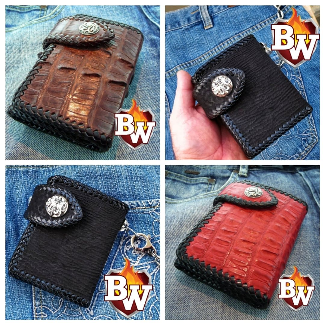 Brown Crocodile Secret Agent 5-inch Custom Handmade Trifold Biker Wallet | Custom Handmade Men's Leather Wallets at Biker-Wallets.com
