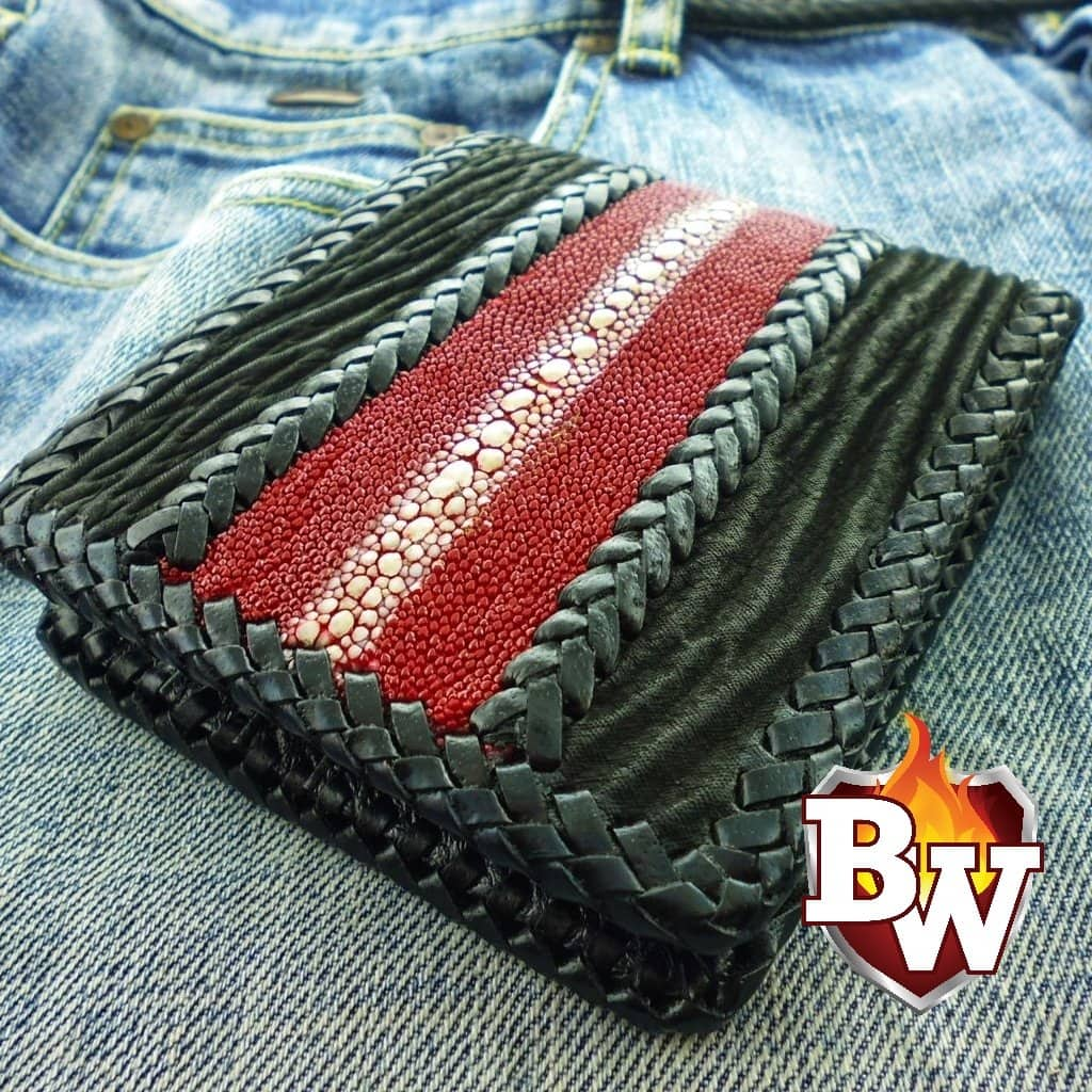 """Shark Highway"" 5"" Stingray and Shark Skin Handmade̴ Leather Biker Wallet"