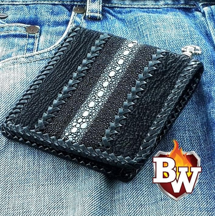 """Shark Highway Asphalt"" 5"" Custom Handmade Shark Stingray Leather Biker Wallet"