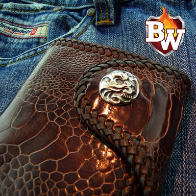 """Sherlock"" 4"" Custom Handmade Ostrich Skin and Leather Biker Wallet"
