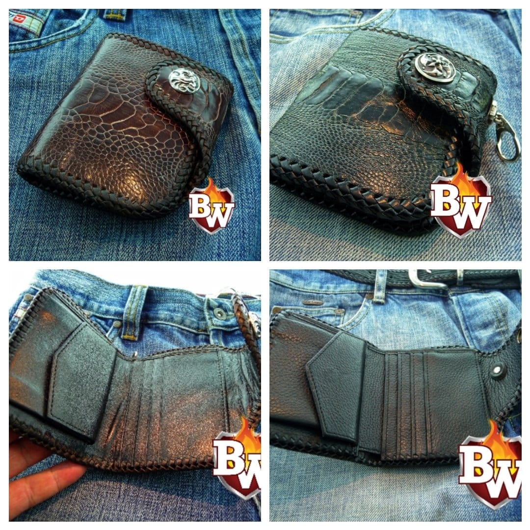 Black Sherlock 4-inch  Ostrich Skin and Leather Biker Wallet | Custom Handmade Men's Leather Wallets at Biker-Wallets.com