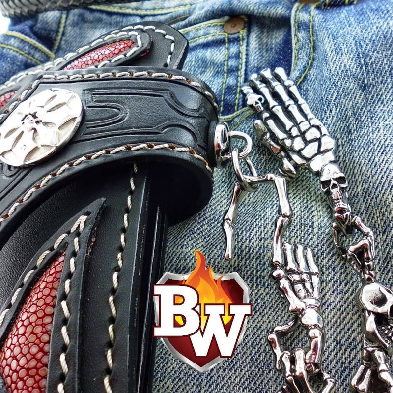 """Skeleton"" 316L Custom Stainless Steel Men's Biker Wallet Chain"