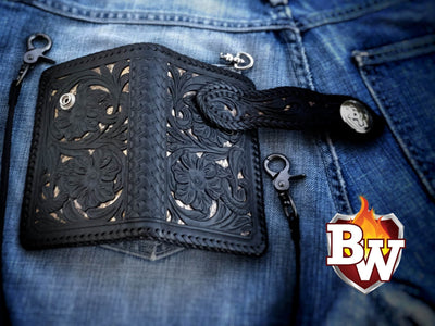 """SKILLCRAFT"" 6"" Leather and Cobra Skin Handmade Biker Wallet"