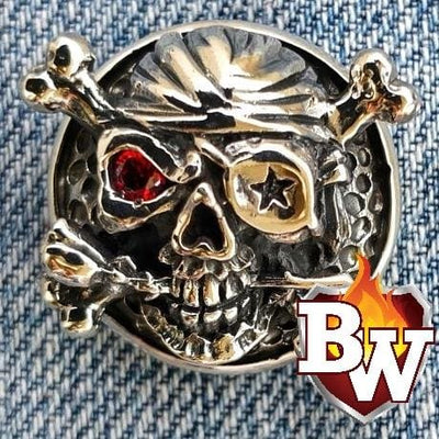 The Reaper Skulls  .925 Silver Snap Concho Cap for Biker Wallet | Custom Handmade Men's Leather Wallets at Biker-Wallets.com