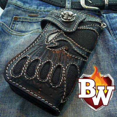 Purple 1 Skulls 8-inch Evil Custom Handmade Custom Biker Chain Wallets | Custom Handmade Men's Leather Wallets at Biker-Wallets.com