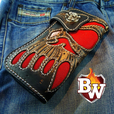 Gray 1 Skulls 8-inch Evil Custom Handmade Custom Biker Chain Wallets | Custom Handmade Men's Leather Wallets at Biker-Wallets.com