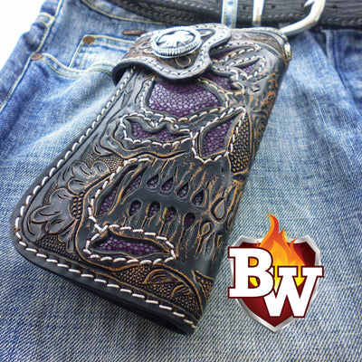 Red 2 Skulls 8-inch Evil Custom Handmade Custom Biker Chain Wallets | Custom Handmade Men's Leather Wallets at Biker-Wallets.com