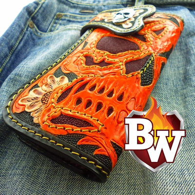 Red 3 Skulls 8-inch Evil Custom Handmade Custom Biker Chain Wallets | Custom Handmade Men's Leather Wallets at Biker-Wallets.com