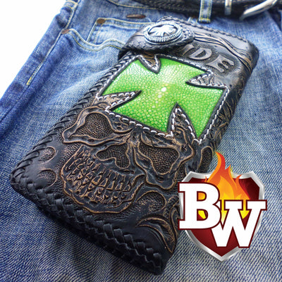 Black 5 Skulls 8-inch Evil Custom Handmade Custom Biker Chain Wallets | Custom Handmade Men's Leather Wallets at Biker-Wallets.com