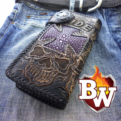 Black 6 Skulls 8-inch Evil Custom Handmade Custom Biker Chain Wallets | Custom Handmade Men's Leather Wallets at Biker-Wallets.com