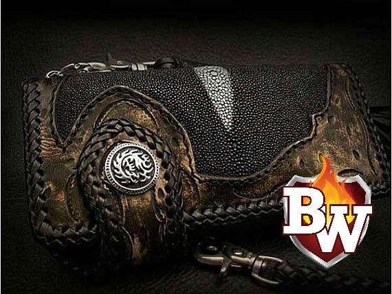 """Route Sixty Six"" 8"" Custom Handmade Leather and Stingray Men's Biker Wallet"