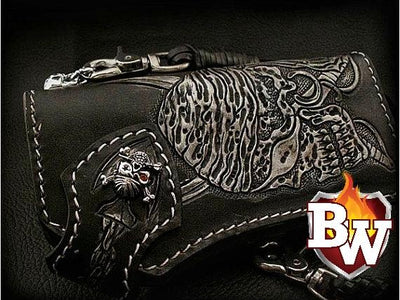 Black 7 Skulls 8-inch Evil Custom Handmade Custom Biker Chain Wallets | Custom Handmade Men's Leather Wallets at Biker-Wallets.com