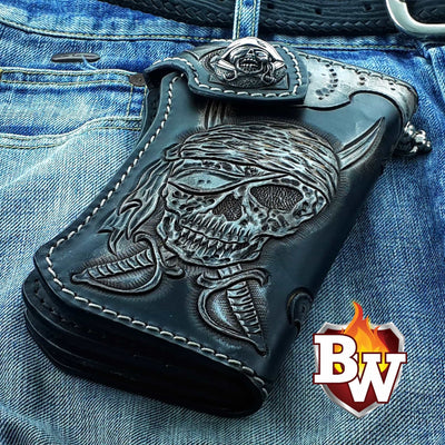 Brown 2 Skulls 8-inch Evil Custom Handmade Custom Biker Chain Wallets | Custom Handmade Men's Leather Wallets at Biker-Wallets.com