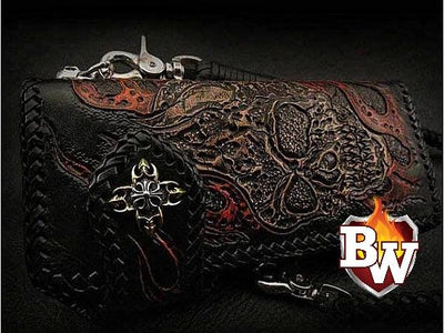 Green 2 Skulls 8-inch Evil Custom Handmade Custom Biker Chain Wallets | Custom Handmade Men's Leather Wallets at Biker-Wallets.com