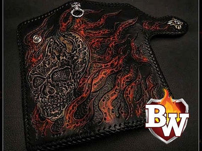 Skulls 8-inch Evil Custom Handmade Custom Biker Chain Wallets | Custom Handmade Men's Leather Wallets at Biker-Wallets.com