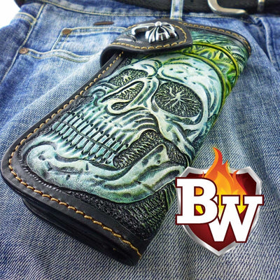 Black 8 Skulls 8-inch Evil Custom Handmade Custom Biker Chain Wallets | Custom Handmade Men's Leather Wallets at Biker-Wallets.com