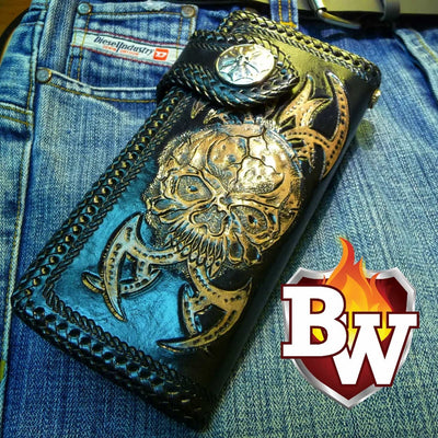 Red 1 Skulls 8-inch Evil Custom Handmade Custom Biker Chain Wallets | Custom Handmade Men's Leather Wallets at Biker-Wallets.com