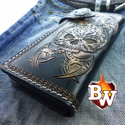 Black 3 Skulls 8-inch Evil Custom Handmade Custom Biker Chain Wallets | Custom Handmade Men's Leather Wallets at Biker-Wallets.com