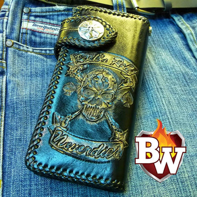 Brown 3 Skulls 8-inch Evil Custom Handmade Custom Biker Chain Wallets | Custom Handmade Men's Leather Wallets at Biker-Wallets.com