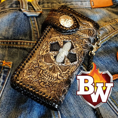 Red 5 Skulls 8-inch Evil Custom Handmade Custom Biker Chain Wallets | Custom Handmade Men's Leather Wallets at Biker-Wallets.com