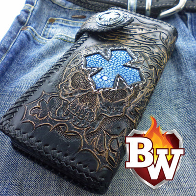 Black 12 Skulls 8-inch Evil Custom Handmade Custom Biker Chain Wallets | Custom Handmade Men's Leather Wallets at Biker-Wallets.com