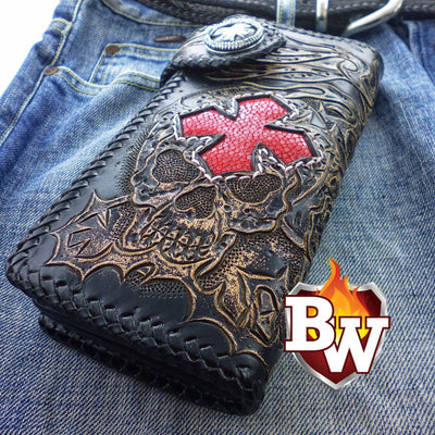 Brown 4 Skulls 8-inch Evil Custom Handmade Custom Biker Chain Wallets | Custom Handmade Men's Leather Wallets at Biker-Wallets.com