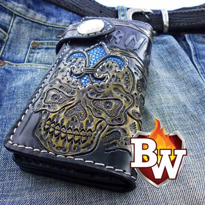 Blue 3 Skulls 8-inch Evil Custom Handmade Custom Biker Chain Wallets | Custom Handmade Men's Leather Wallets at Biker-Wallets.com