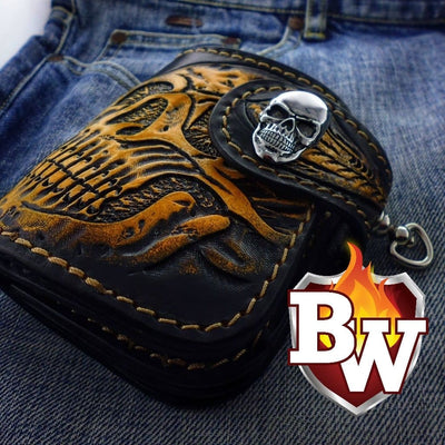 Style 2 Skulls 5-inch  Men's Biker Chain Wallet | Custom Handmade Men's Leather Wallets at Biker-Wallets.com