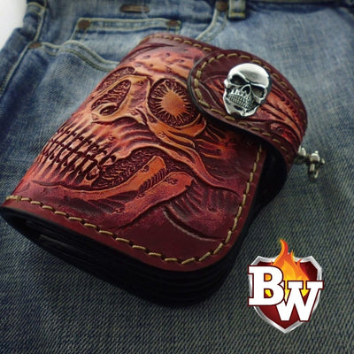 Style 3 Skulls 5-inch  Men's Biker Chain Wallet | Custom Handmade Men's Leather Wallets at Biker-Wallets.com
