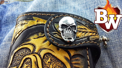 Skulls 5-inch  Men's Biker Chain Wallet | Custom Handmade Men's Leather Wallets at Biker-Wallets.com