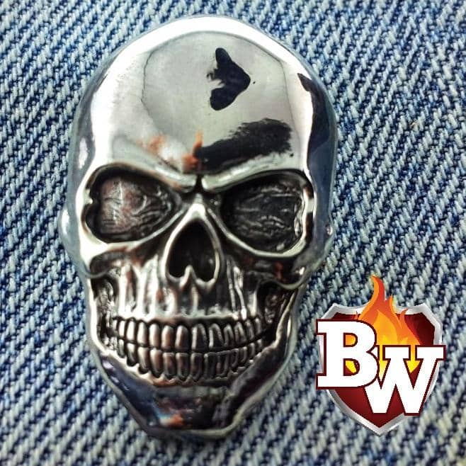 Skulls  .925 Silver Snap Concho Cap for Custom Biker Wallet | Custom Handmade Men's Leather Wallets at Biker-Wallets.com