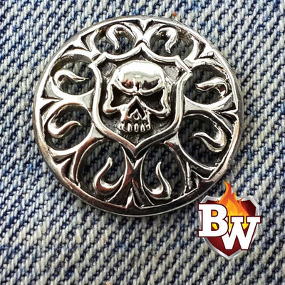 Phantasm Skulls  .925 Silver Snap Concho Cap For Biler Wallet | Custom Handmade Men's Leather Wallets at Biker-Wallets.com