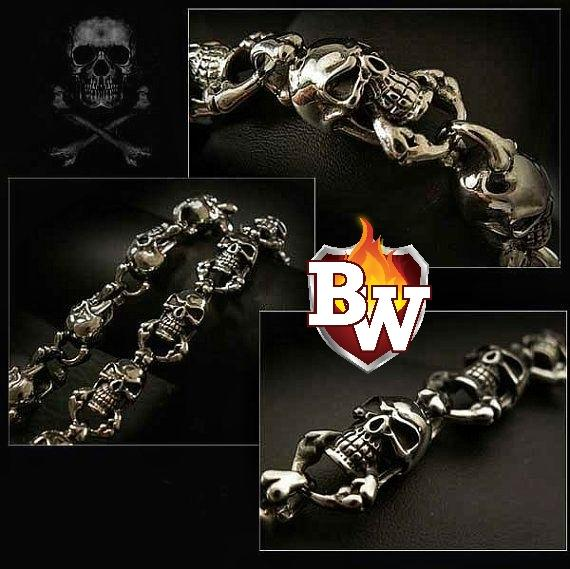 """Skull"" Custom German Silver Men's Biker Wallet Chain"
