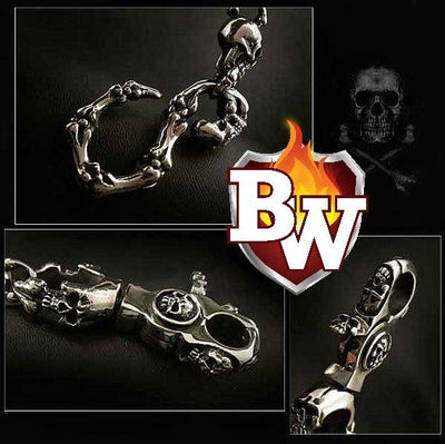 Skull Custom German Silver Men's Biker Wallet Chain | Custom Handmade Men's Leather Wallets at Biker-Wallets.com