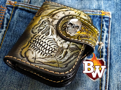 Style 4 Skulls 5-inch  Men's Biker Chain Wallet | Custom Handmade Men's Leather Wallets at Biker-Wallets.com