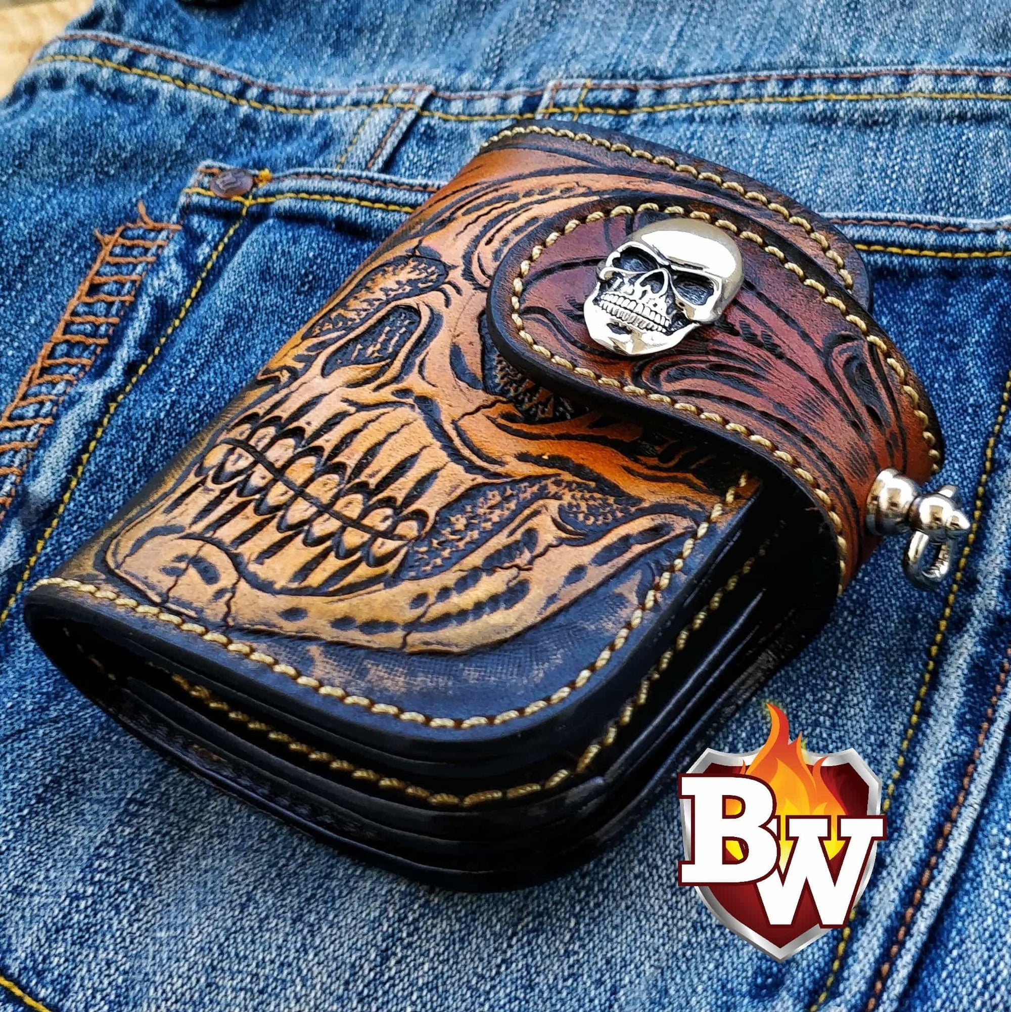 """Skull Pip Squeek Edition"" 5"" Custom Handmade Hand Tooled Leather Men's Biker Wallet"