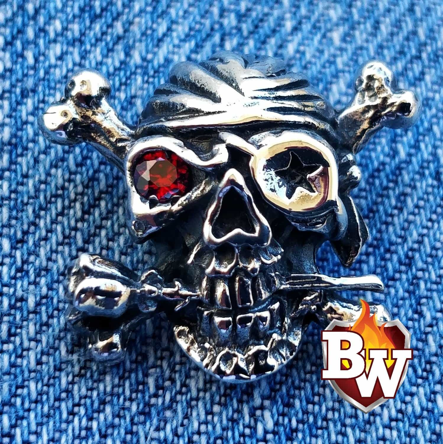 """Skull with Rose"" .925 Silver Concho Snap Cap For Biker Wallet"""