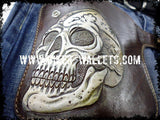 """Skull Brown"" 8"" Custom Handmade Leather Men's Biker Wallet - Biker Wallets"