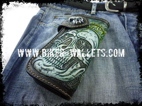 """Skull Chief"" 8"" Custom Handmade Leather Men's Biker Wallet"