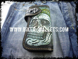"""Skull Chief"" 8"" Custom Handmade Leather Men's Biker Wallet - Biker Wallets"