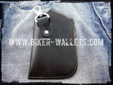 """Skull"" with Clip Cell Phone Android iPhone Leather Hand Tooled Cellphone case - Biker Wallets"