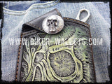 """Skull"" with Clip Cell Phone Android iPhone Leather Hand Tooled Cellphone case"