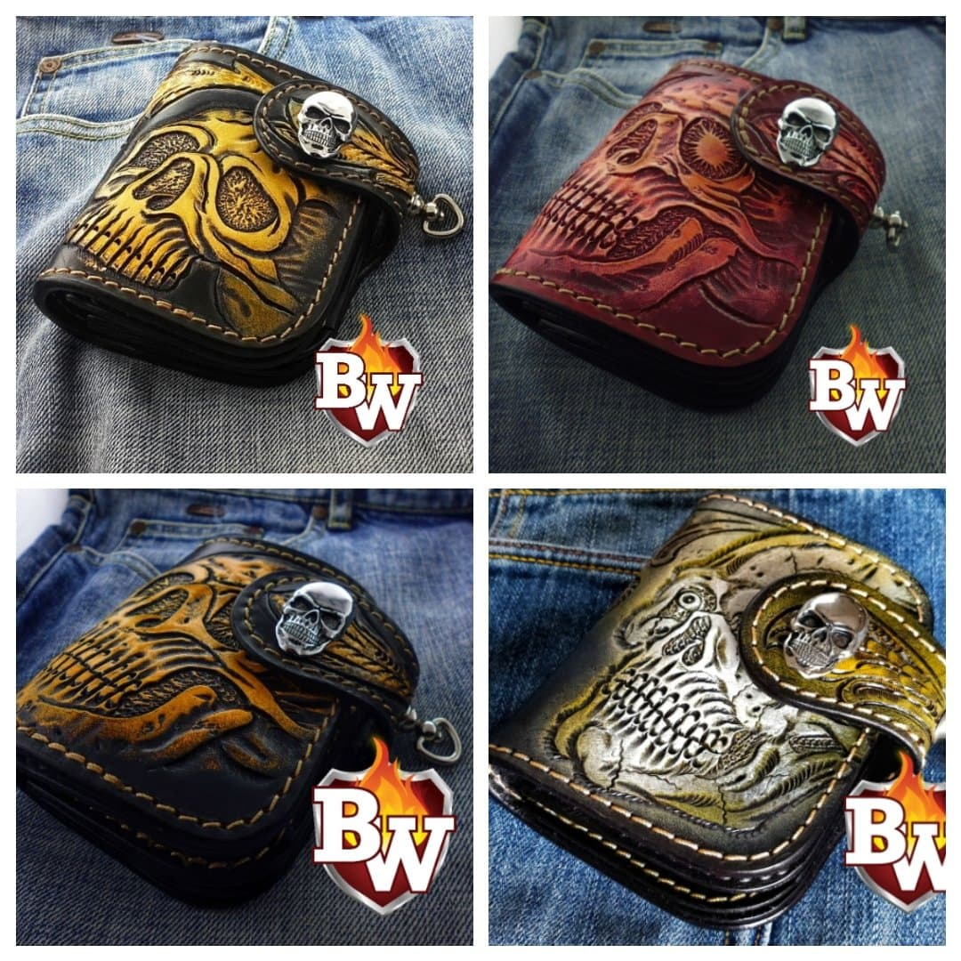 Style 1 Skulls 5-inch  Men's Biker Chain Wallet | Custom Handmade Men's Leather Wallets at Biker-Wallets.com