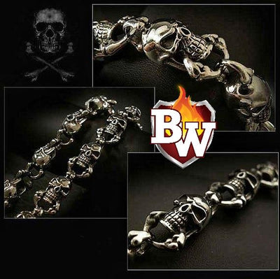 Skull Custom .925 Silver Men's Biker Wallet Chain | Custom Handmade Men's Leather Wallets at Biker-Wallets.com