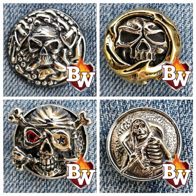 Davy's Treasure Skulls  .925 Silver Snap Concho Cap for Biker Wallet | Custom Handmade Men's Leather Wallets at Biker-Wallets.com